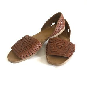 Franco Sarto tanned brown woven leather mules